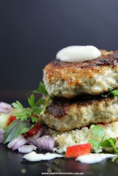 Chicken Cakes with Tahini and Preserved Lemon by honestcooking #Chicken #Tahini #honestcooking