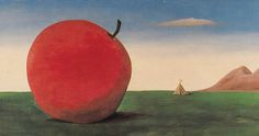Apple (1974)  Kamil Lhoták (1912-1990) put his goals as a lawyer on hold due to Nazi-occupied Prague… instead he concentrated on painting nostalgic views of the world in everyday reality incorporating discarded machines, junk, and peripheral nooks, transforming them into dreaming creations and poetic images. Political Art, Nooks, Lawyer, Prague, University, Apple, Artists, Artwork, Painting