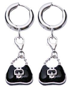 Sterling Silver Earrings: Chic Satchel Handbag Purse in Black Enamel