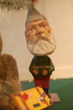 Vintage Christmas Collectible ~ Bobble Head type Santa Claus from Germany.