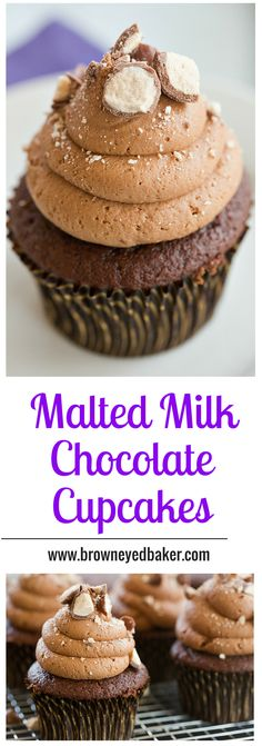 Malted Milk Chocolate Cupcakes - Fantastic malt flavor infused into both the cupcakes and the frosting! | browneyedbaker.com