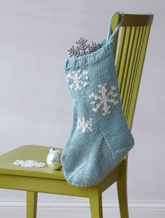 Festive Snowflake Stocking (Knit)