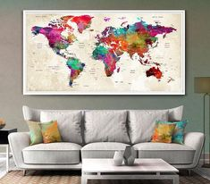 """Wedding Gifts World Map"" Watercolor Canvas Painting"