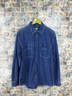4b6154b4 CALVIN KLEIN Jeans Denim Shirt Oxfords Large Ck Calvin Klein New York Buttondown  Shirt Flannel Hipster Blue Jeans Shirt Size L
