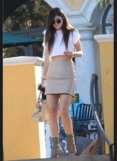 Kylie Jenner Crop top with leather pencil skirt and caged heel shoes! Love ♡ 2014 celebrity outfits