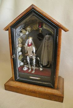 LADY IN WAITING - domina in exspecto. - Antique doll parts with resin bones. Resin skeleton, vintage net, silk, wire & flowers with ceramic skulls.