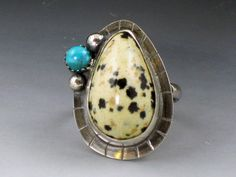 Dalmatian Jasper and Turquoise Ring, black white and blue ring, large ring, boho ring, size 7.5 ring by MicheleGradyDesigns on Etsy