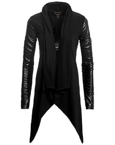 Danier - My mother will rock with this cascading draped front jersey knit cardigan (Style # Dark Fashion, Leather Fashion, Mens Fashion, Fashion Outfits, Swagg, Blazer Jacket, Passion For Fashion, Mantel, Jackets For Women