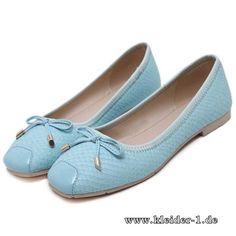 PU Damen Ballerinas in Hell Blau
