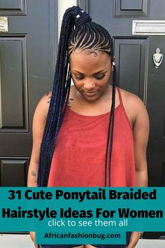 See the trending ponytail braided hairstyles for black women in 2020. #ponytailbraids Feed In Braids Hairstyles, Braided Ponytail Hairstyles, Braided Hairstyles For Black Women, Braids For Black Women, Feed In Ponytail, Short Ponytail, Cute Ponytails, Simple Ponytails, Goddess Braid Ponytail