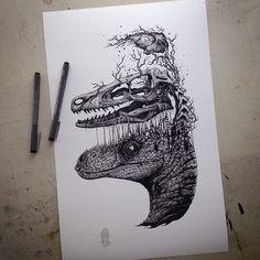 Exploding Skeleton & Skull Illustrations by Paul Jackson
