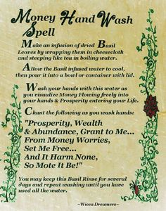 Money Hand Wash Spell……Printable Spell Pages. Extremely powerful good money spell, Pagan wish spells that work instantly, Wicca spells for money and prosperity Powerful Money Spells, Money Spells That Work, Spells That Actually Work, Tarot, Spells For Beginners, Magick Spells, Hoodoo Spells, Wiccan Spells Money, Witchcraft Spells