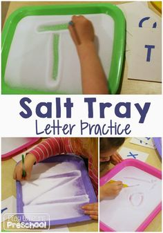 Play to Learn Preschool: Salt Tray Writing Practice Writing can easily and also will offer Preschool Writing, Preschool Learning Activities, Letter Activities, Toddler Learning, Preschool Classroom, Kindergarten Word Work, Activities For 4 Year Olds, Pre K Activities, Preschool Letters