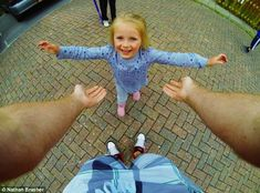 Point of view: Mr Brasher strapped a GoPro camera to his chest and set it to take a picture every half a second in order to capture the fun images Gopro Drone, Gopro Camera, Gopro Photography, Digital Photography, 2nd Birthday Pictures, Hobby Town, Gopro Hero 3, New Brighton, Point Of View