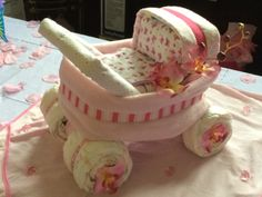 Diaper Stroller - Butterflies & Orchids http://PhenixDesigns.wix.com/home #Orchids #Stroller #DiaperCake #BabyShower #PhenixDesigns #Phoenix888Designs