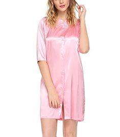 e2b1aa6fd4 Luxilooks Sleepwear Women s 3 4 Sleeve Satin Sleep Shirt ... https