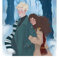 """Winter """"""""Draco's like…snow,"""" said Hermione quietly, her gaze absent and distracted. """"It's cold and cruel to begin with, but it's somehow beautiful, and you miss it when it's not there. Harry Potter Feels, Harry Potter Ships, Harry Potter Fan Art, Harry Potter Fandom, Draco And Hermione Fanfiction, Draco Malfoy, Hermione Granger, Slytherin, Hogwarts"""