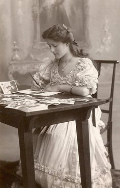 :::::::::::: Antique Photograph :::::::::::: Victorian young woman writing at desk