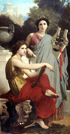 'L'art et la littérature' ('Art and Literature') (1867) by William-Adolphe Bouguereau (1825-1905). Oil on canvas. 200 × 108 cm (78.74 x 42.51 in). Location: Arnot Art Museum, Elmira, New York (U.S.) // Visit this museum: http://www.arnotartmuseum.org/permanentcollection.asp // Notes: This painting is in the Random Magic Tour collection, because of the high profile the Nine Muses have in the novel 'Random Magic' (Sasha Soren). The Muse of Writing, in particular, has an interesting role in the…