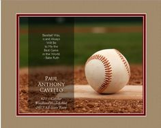 """Personalized """"Baseball"""" Themed - 13"""" x 16"""" Framed HD Print With Digital Mat"""