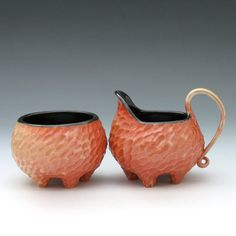 Porcelain creamer and sugar bowl set in gold to by robertapolfus