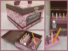 Nail Polish Organizer, Wooden Storage Box with Handle and Dividers, Decoupage, Hand Painted
