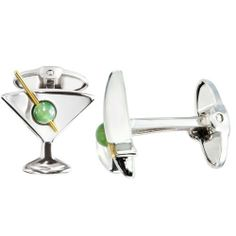 Dolan Bullock Sterling Silver and 14k Yellow Gold Martini and Jade Olive Cuff Links Amazon Curated Collection. $225.00. Made in United States