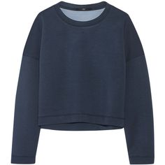 Tibi Cropped neoprene sweatshirt ($195) ❤ liked on Polyvore featuring tops, hoodies, sweatshirts, storm blue, boxy crop tops, loose fitting tops, loose tops, loose fit tops and tibi top