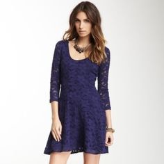 Free People Lace Dress 3/4 Sleeve Lace Dress in Navy. Scoop neck. Fully lined. Worn once. Approx 33 inches from shoulder to hem. Free People Dresses