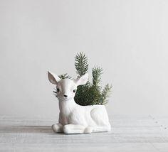 R E S E R V E D  Vintage White Deer Planter / by reclaimer on Etsy, $28.00