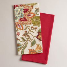 One of my favorite discoveries at WorldMarket.com: Kavita Floral Towels, Set of 2