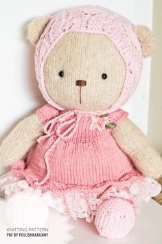 Shabby Chic Teddy Clothes Knitted Pattern #knitting #pattern #striken #teddy #bear #clothes #doll Teddy Bear Knitting Pattern, Knitted Teddy Bear, Teddy Bear Toys, Clothing Patterns, Knitting Patterns, Doll Clothes, Shabby Chic, Dolls, Animals