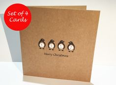 Set of 4 Penguin Christmas Cards - Buttons