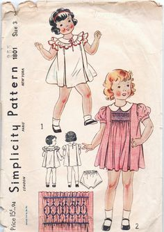 VERY RARE 1930s vintage pattern Simplicity 1801 size by GreatScott, $19.99