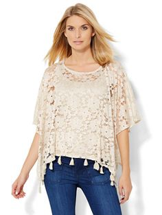 Shop Fringe-Trim Lace Poncho  . Find your perfect size online at the best price at New York & Company.
