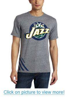 04da1a15403 NBA Men s Utah Jazz Originals Court Series Big Stripes Tri-Blend Short  Sleeve Jersey Tee (Grey Heathered