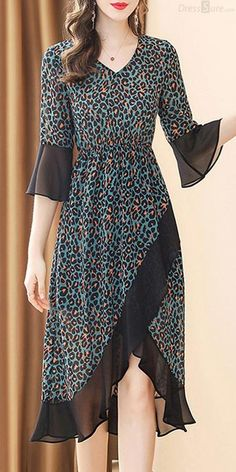 Leopard V-Neck Flare Sleeve Asymmetric Collect Waist Skater Dress - Casual Outfits Modest Fashion, Hijab Fashion, Fashion Dresses, Stylish Dresses, Casual Dresses, Dresses Dresses, Modest Summer Outfits, Designs For Dresses, Trend Fashion