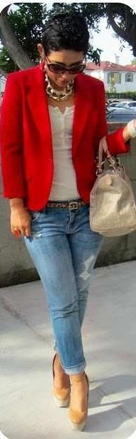 dress up jeans with a Red blazer Mimi G