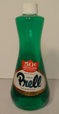 "PRELL Shampoo 1960s: the ""pearl"" at the bottom of their bottle of shampoo just like the awesome dinner plates that came in a box of laundry detergent contrast the striking difference in the excellence of those days and the mediocrity of today."
