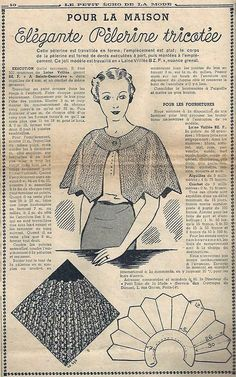 "Le Petit Écho de la Mode - 16 janvier 1938.  A knitted house ""pelerine"" 