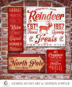 Christmas Holiday typography signage graphic artwork on gallery wrapped canvas by Stephen Fowler - need reindeer names and not a creature was stirring Primitive Christmas, Noel Christmas, Christmas Signs, Little Christmas, Country Christmas, Christmas Projects, All Things Christmas, Winter Christmas, Holiday Crafts