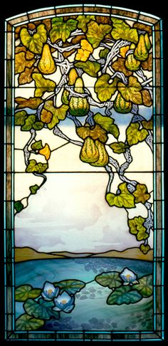 Jacques Gruber (1870-1936) - Coloquintes (Squashes) with Water Lilies Leaded Glass Window Panel. Painted & Etched Coloured Glass with Lead Came. Nancy, France. Circa 1906.