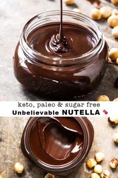 This homemade paleo and keto nutella hazelnut spread is truly unbelievable! Keto Friendly Desserts, Low Carb Desserts, Low Carb Recipes, Keto Sauces, Hazelnut Spread, Paleo Dessert, Ketogenic Recipes, Paleo Keto Recipes, Low Carb Keto