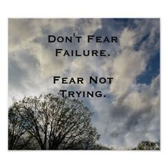 Don't Fear Failure Inspirational Photo Poster - diy cyo customize create your own personalize