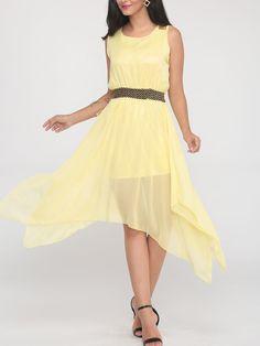 Beading Asymmetrical Hems Round Neck Chiffon Skater Dress - fashionme.com