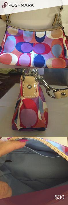 Coach small handbag Coach small handbag with light beige strap and blue lining.  Multi colored. Coach Bags Mini Bags