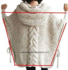 De estilo el poncho con la capucha - la ropa universal y confortable tejida // Виктория - jewelry Crochet Hooded Scarf, Knitted Poncho, Knitted Shawls, Knit Crochet, Poncho Knitting Patterns, Knitting Stitches, Knitting Designs, Baby Knitting, Knit Fashion
