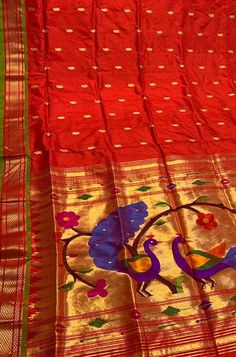 Buy online Red Handloom Paithani Pure Silk Saree With Temple Design Border Red Fabric, Silk Fabric, Temple Design, Pure Silk Sarees, Floral Chiffon, Saree Styles, Indian Art, Textured Background, Floral Design