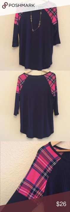 🦃SALE🍂 Reg $26 - Now N Forever Top Navy too with pink plaid detail on shoulders. 🚭smoke/pet free home 🛍note although all items are brand new, some do not have tags bc bought wholesale. Now N Forever  Tops Tees - Long Sleeve