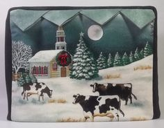 Toaster Cover Cows in Winter by PatsysPatchwork on Etsy, $18.00